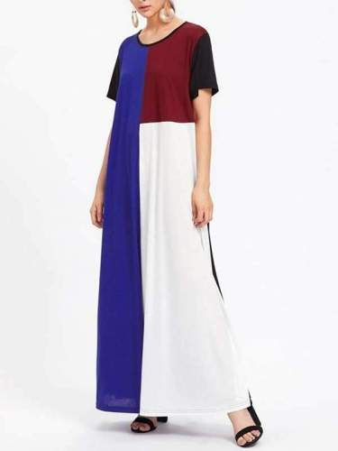 Women Loose Multi-Color Patchwork Casual Maxi Dress