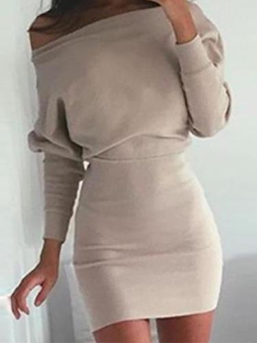 Sexy Off Shoulder Batwing Long Sleeve Bodycon Dress