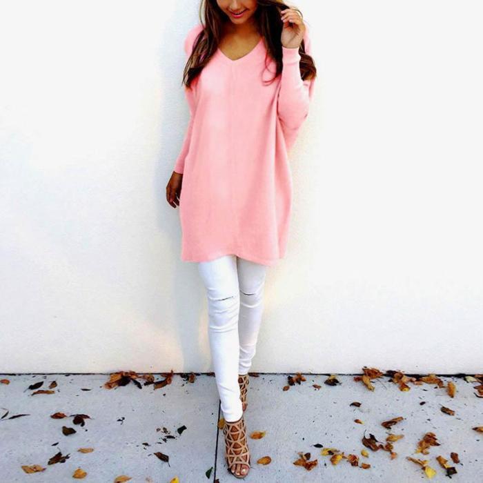 Fashion V-Neck Long Sleeve Women's Sweater
