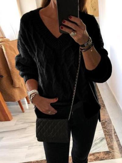 V neck women long sleeve wintwr sweaters