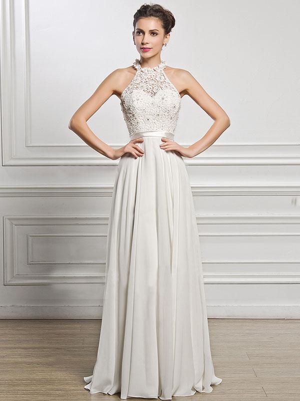 Classical White Lace Sleeveless Maxi Dress Evening Dress