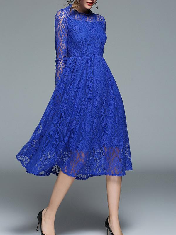 Lace Hollow Waisted Midi Evening Dress