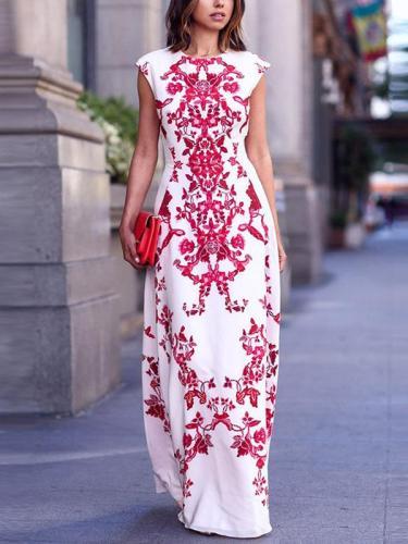 Bohemia Floral Print Sleeveless Maxi Dress
