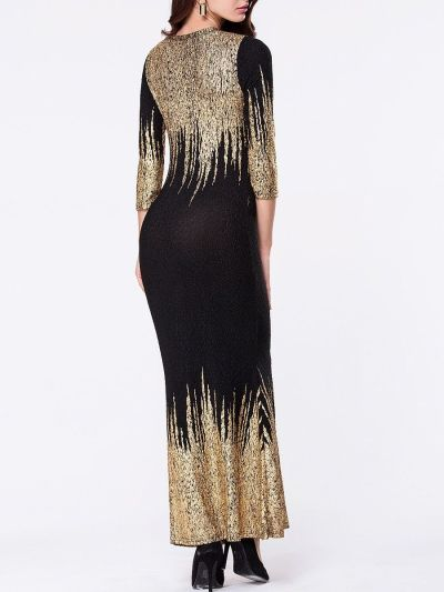 Round Neck Bronzing Split Maxi Dress