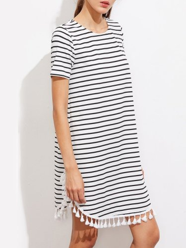 Woman Round Neck  Fringe  Printed Shift Dress