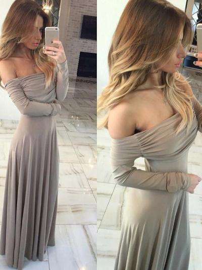 Off-the-shoulder Floor Evening Dress