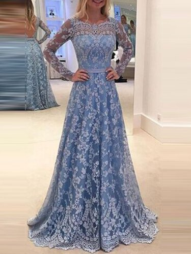 Plus Size Lace Elegant Woman Backless Evening Dress