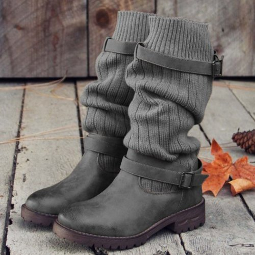 Vintage Comfy Sweater Boots PU Paneled Adjustable Buckle Casual Boots
