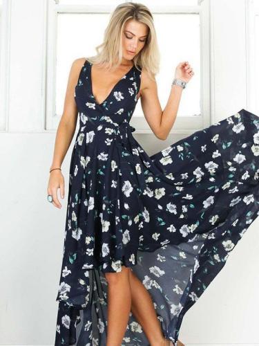 Asymmetric Floral V-Neck Maxi Dresses
