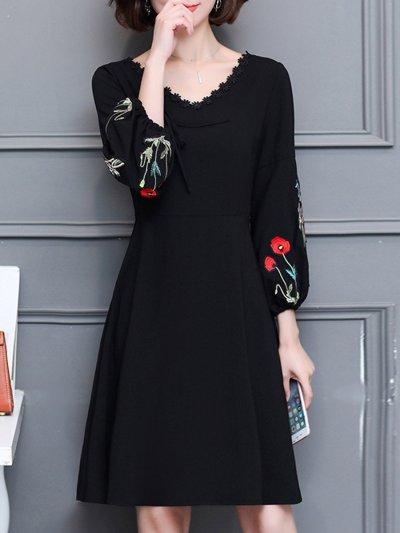 V-Neck  Embroidery Plain  Cotton Skater Dress