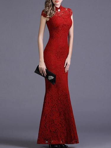 Elegant Cap Sleeve High Collar Mermaid Dress Evening Dress