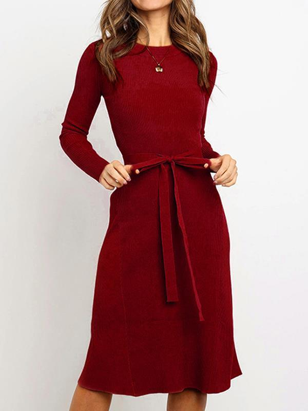 Fashion slim belted long sleeve bodycon dresses