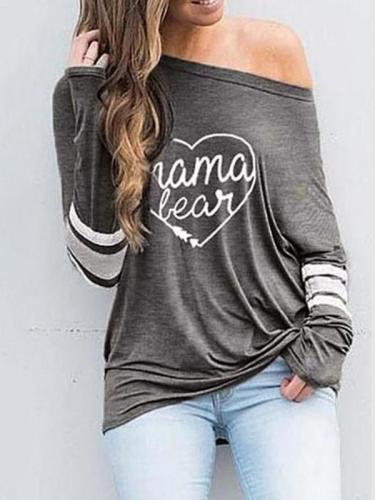 Fashion Printed Slanted Shoulder T-Shirt