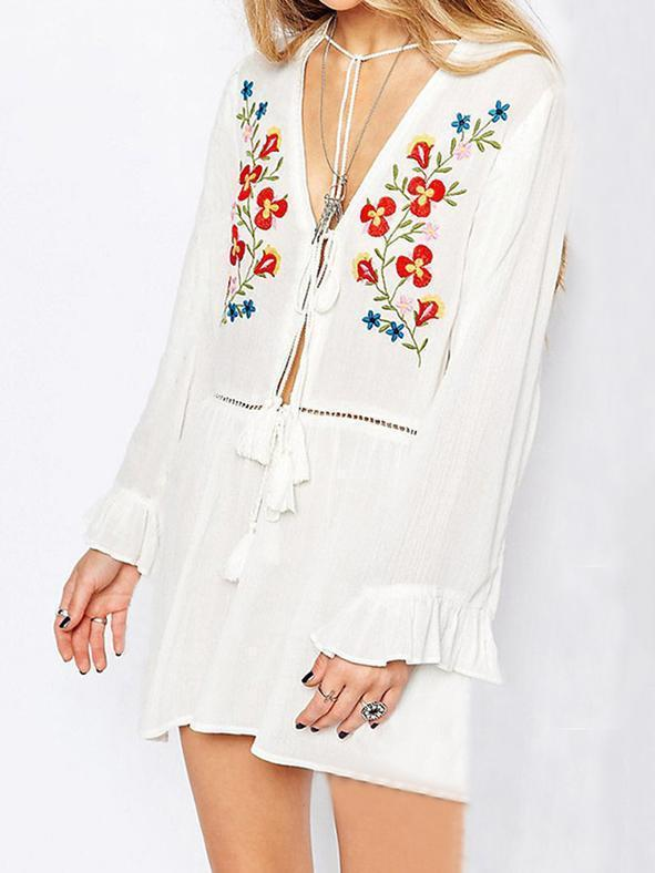 Loose Embroidered Flared Sleeves Tassels Beach Cover-Ups