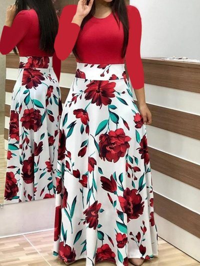 New Woman Autumn Round Neck Long sleeve Flory Maxi Dresses For Daily