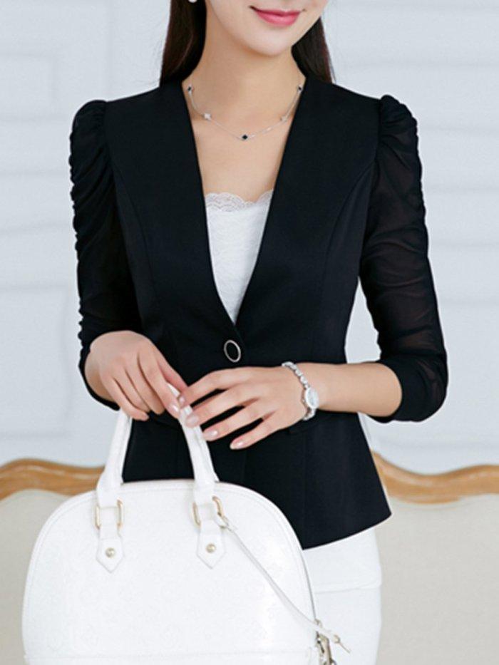 Collarless  Single Button  Plain  Half Sleeve Blazers