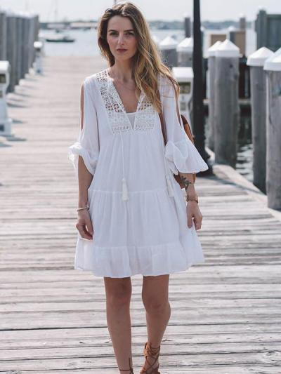White 3/4 Trumpet Sleeves Mini Beach Dress