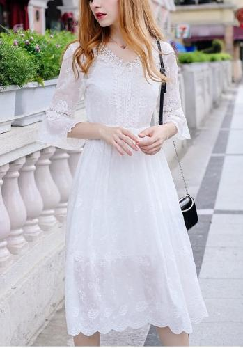 V neck Embroider Lotus sleeve Skater Dresses