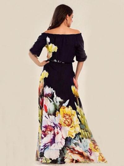 Floral Printed Off-the-shoulder Half Sleeves Maxi Dress