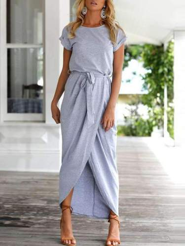 Elegant Round Collar Pure Color Irregular Work Dress