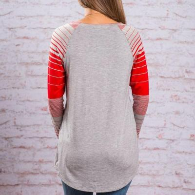Striped Long Sleeved Patchwork T-Shirts