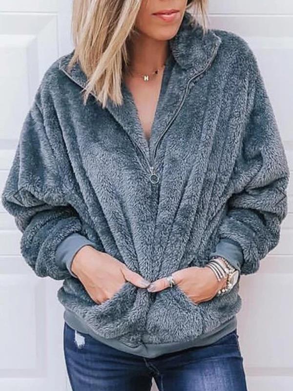 Solid color zipper warm coat sweatshirts