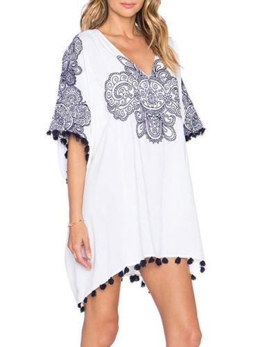 Simple White Chiffon Bohemia Short Sleeve with Tassels Loose Mini Dress