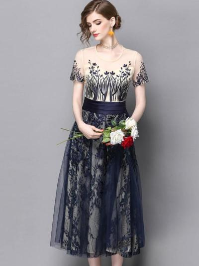 Tulle Embroidery O-Neck Short Sleeves Maxi Dresses