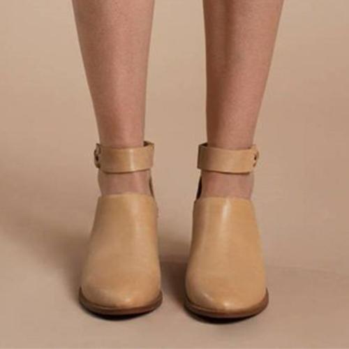Plain  Chunky  High Heeled  Point Toe  Outdoor High Heels Boots