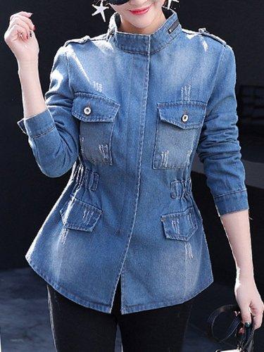 Band Collar  Flap Pocket Zips  Plain  Long Sleeve Jackets