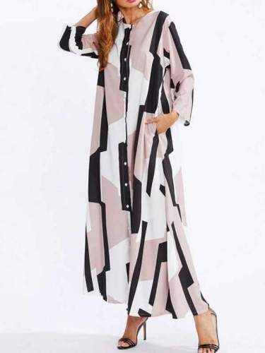 Women Autumn Printed Pacthwork Single-Breasted Shirt Maxi Dress