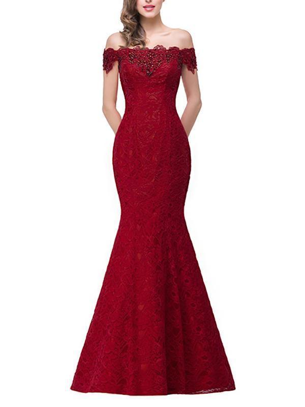 Pretty Lace Off Shoulder Fishtail Evening Dress