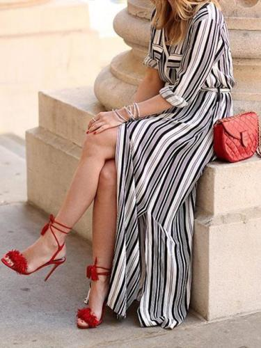 Striped Split Maxi Shirt Dress