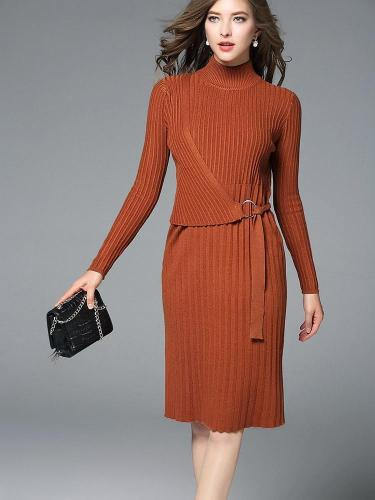 New Long sleeve Knit Lacing Bodycon Dresses