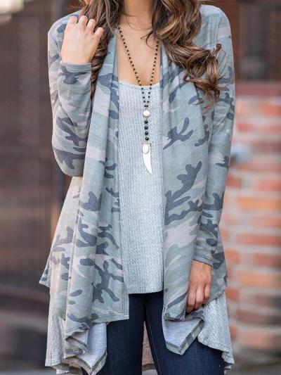Camouflage  Long Sleeve Cardigans
