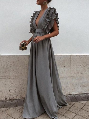 Chiffon Plunge Frill Trim Open Back Chic Women Evening Dress