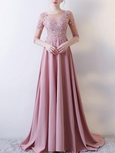 Lace Applique Solid Color O-Neck Backless Elegant Tailing Wedding Dress Evening Dresses