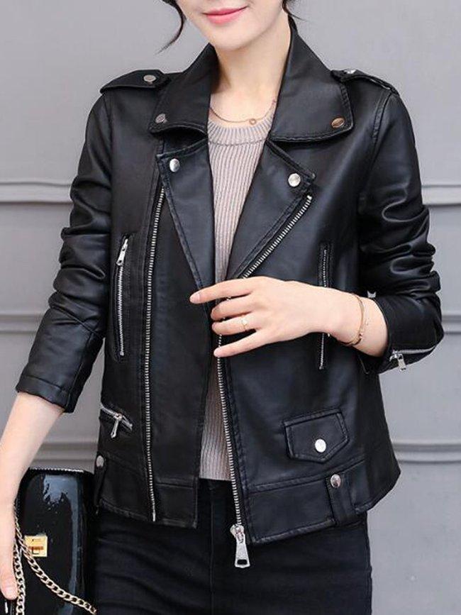Lapel Zips Plain PU Leather Jacket