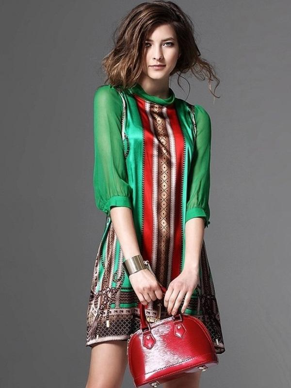 Printing Stand Collar Seven-Tenths Sleeves Midi A-Line Dresses