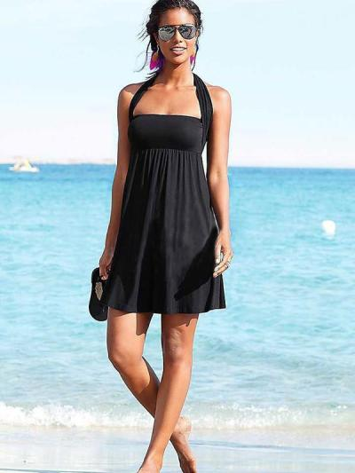 Sexy Black Various Methods of Wear Beach Dress Mini Dress