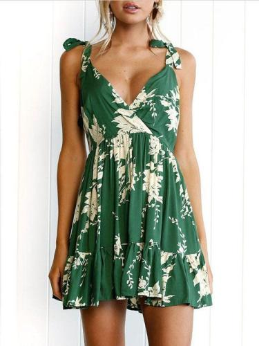 Green Lace-up V-back Printed Mini Dress