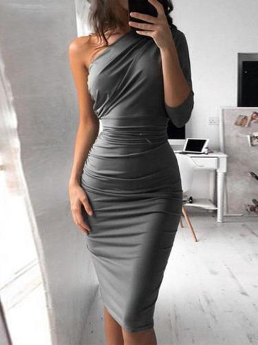 Fashion Oblique Collar Asymmetrical Sexy Bodycon Dress