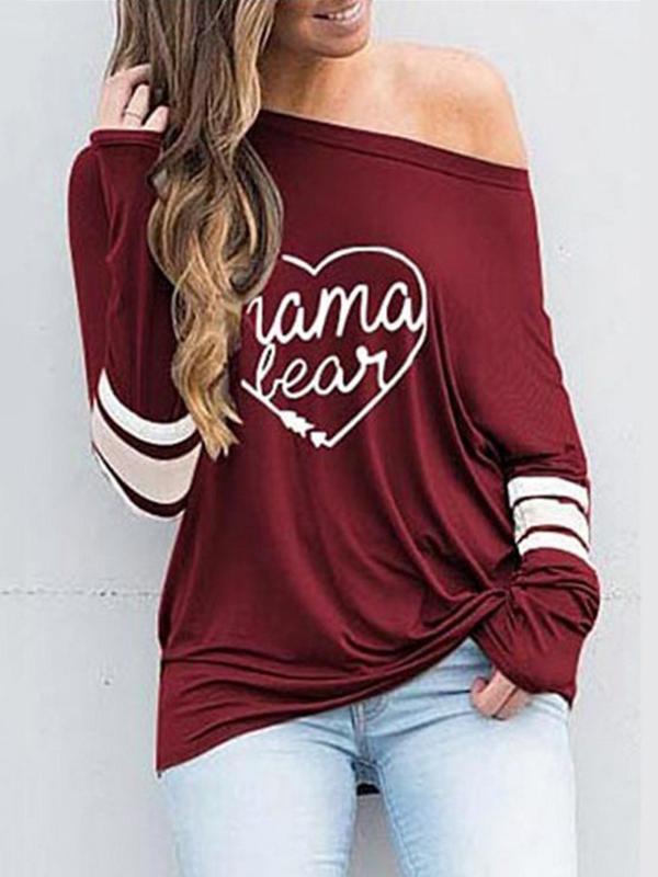 Fashion Printed Slanted Shoulder T-Shirt
