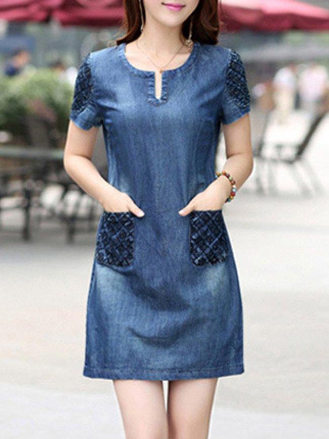 Round Neck  Patch Pocket Shift Dress