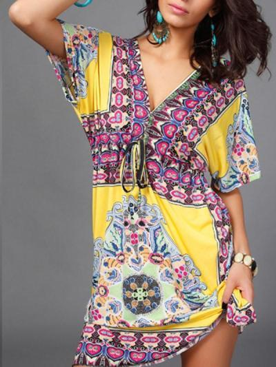 Beautiful Bohemia Floral Print Short Sleeve V Neck Mini Dress