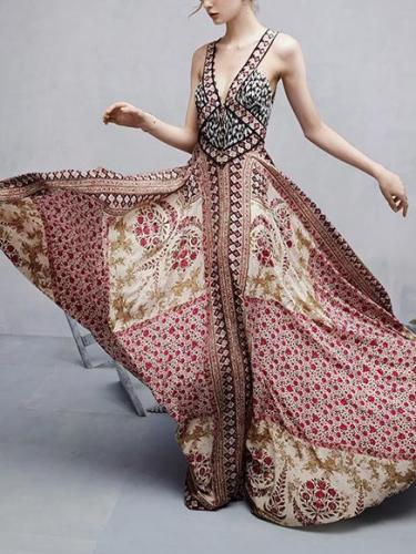 Spagetti-neck V-neck Bohemia Maxi Dress