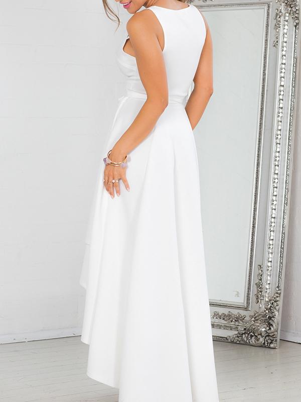 Sexy V-Neck Thick Straps Sleeveless Hi-lo Style Evening Dress