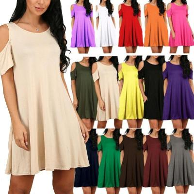 Women Patchwork Multi-Colored Off Shoulder Casual Dress