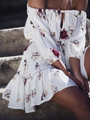 Floral Off-the-shoulder Three Quarter Sleeve Mini Dress