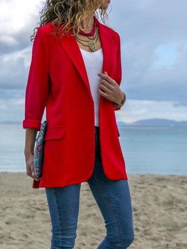 Fashion Lapel Long Sleeve Pocket Woman Blazer